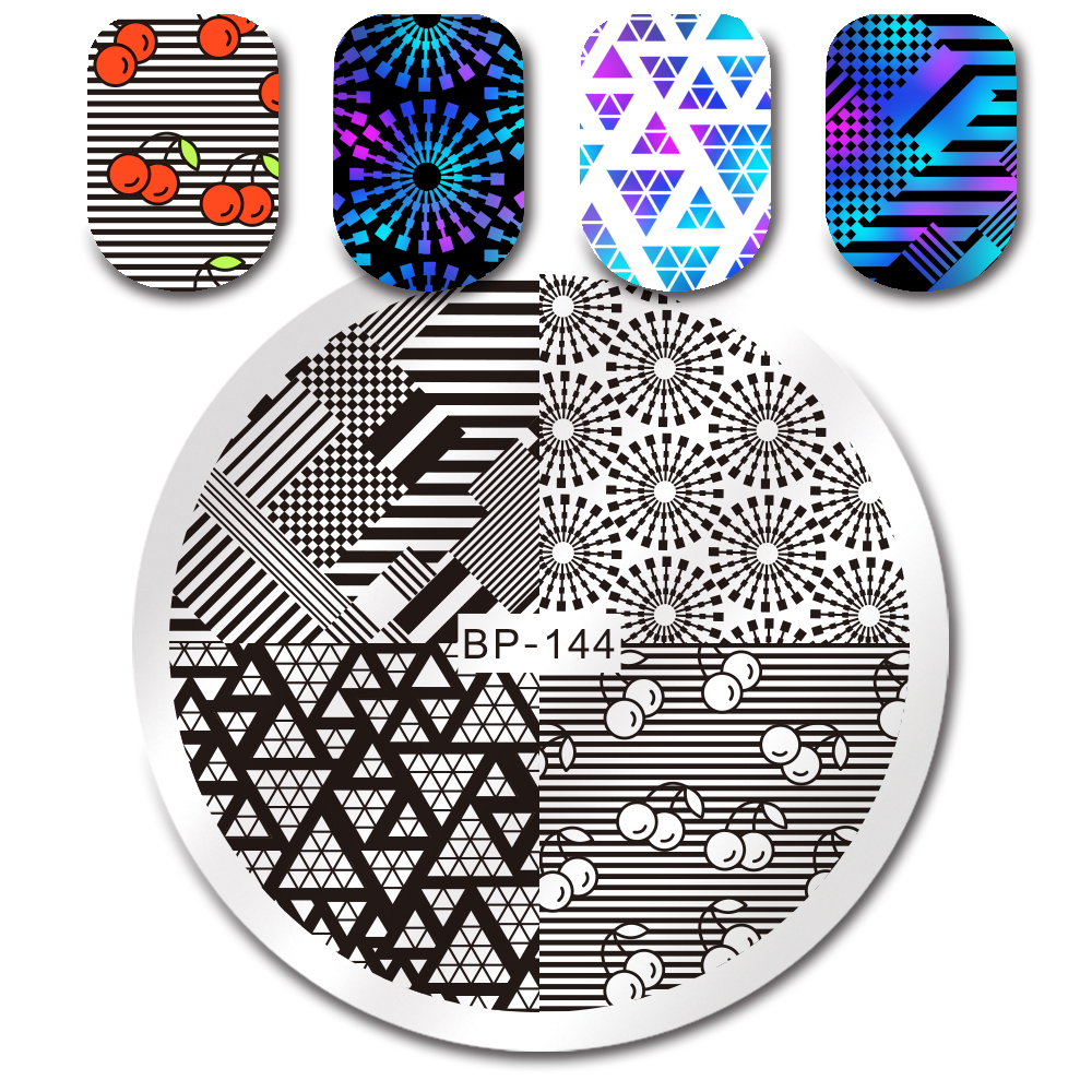 Geometric Reverse Stamping Nail Art Born Pretty Review: BORN PRETTY Round Stamping Template Unicorn Summer Floral