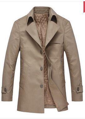 Мужская верхняя одежда& пальто новое поступление весенний хлопковый плащ-Тренч, верхняя одежда, средней длины Блейзер Большие размеры M L XL XXL 3XL 4XL 5XL 6XL 7XL 8XL - Цвет: cotton padde khaki