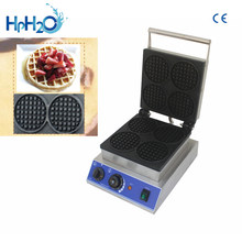 Commercial Non-stick electric 4pcs round shape Waffle Maker Elegant Waffle Making Machine customs iron cake oven(China)