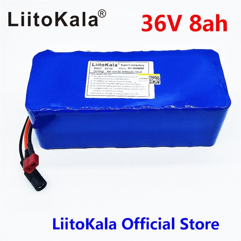 LiitoKala 36V 6ah 8ah 10 500W 18650 lithium battery 36V 8AH Electric bike battery with PVC case for electric bicycle 36v 8ah lithium ion battery 36v 8ah electric bike battery 36v 500w battery with pvc case 15a bms 42v charger free shipping