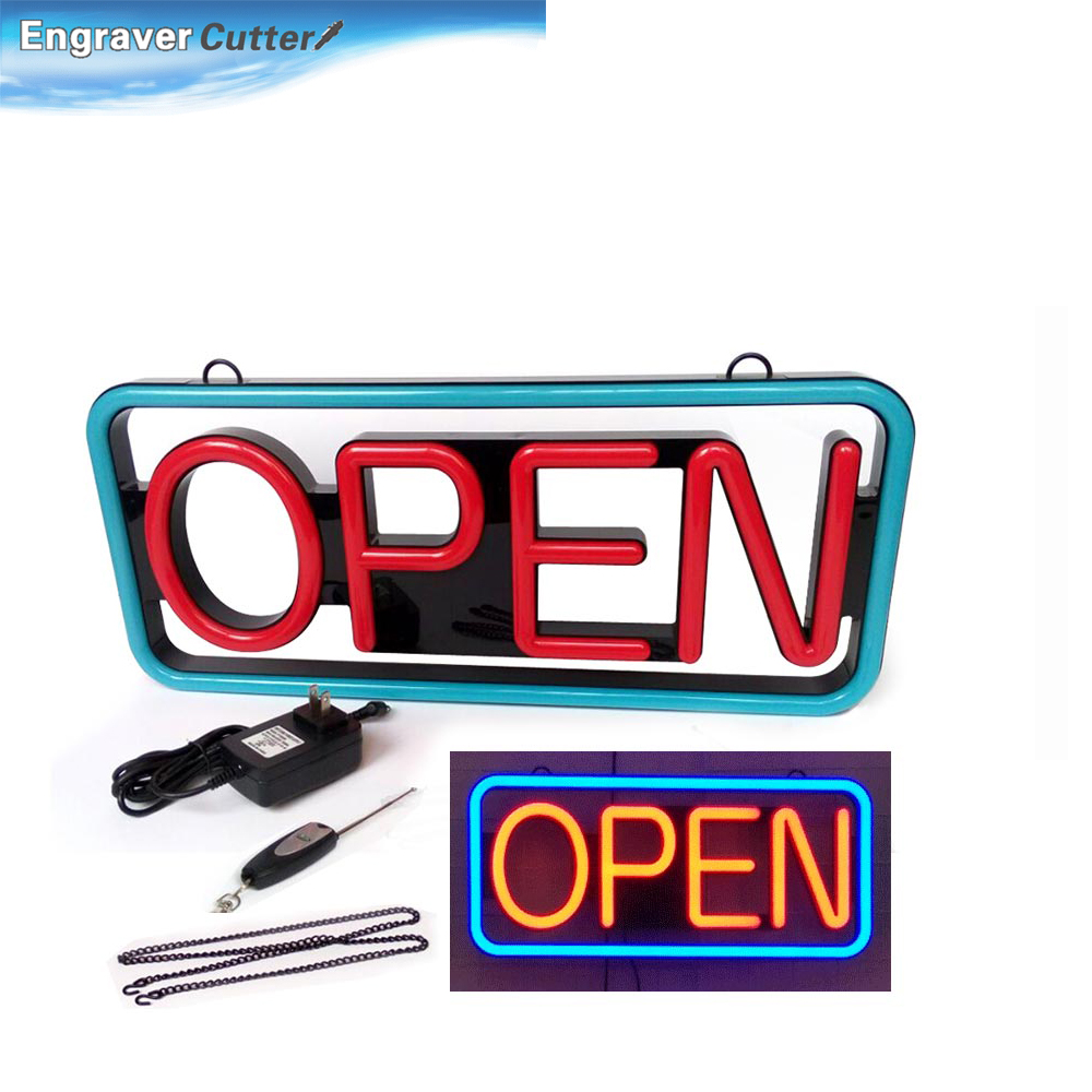 """Punctual 21""""x 10"""" Lighted Led """"open"""" Neon Sign Rectangular-red & Blue"""