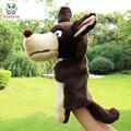 A nova forma do animal Crianças lobo Fantoche de Mão crianças boneca de pelúcia Fantoches brinquedos do bebê presente de aniversário de Natal Recheado brinquedo