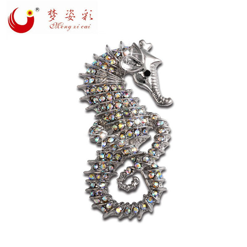 MZC New Vintage یکپارچهسازی با سیستمعامل Hippocampus Sea Horse Brookhes Brooch Crystal Rhinestone Brooches Pin Broshes Animal for Christmas هدایای کریسمس