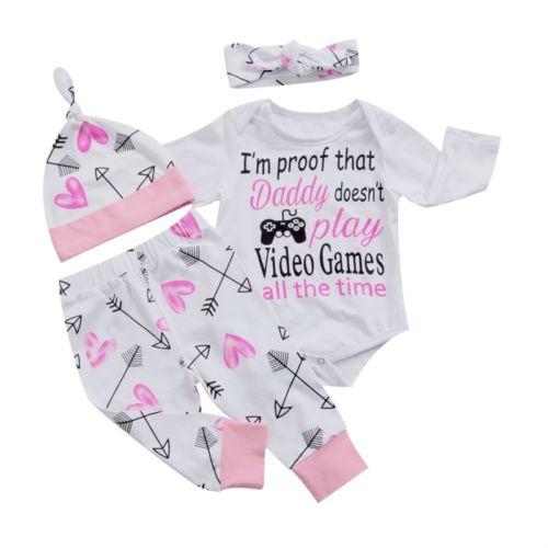 4PCS Newborn Infant Baby Girls Clothes Playsuit Romper Pants Outfit Set