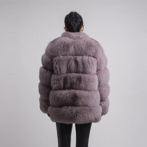 Image 2 - QIUCHEN PJ8142 2020 חורף 70cm נשים אמיתי שועל פרווה מעיל עם פרוות שועל צווארון ארוך שרוולים מעיל אמיתי שועל תלבושת באיכות גבוהה