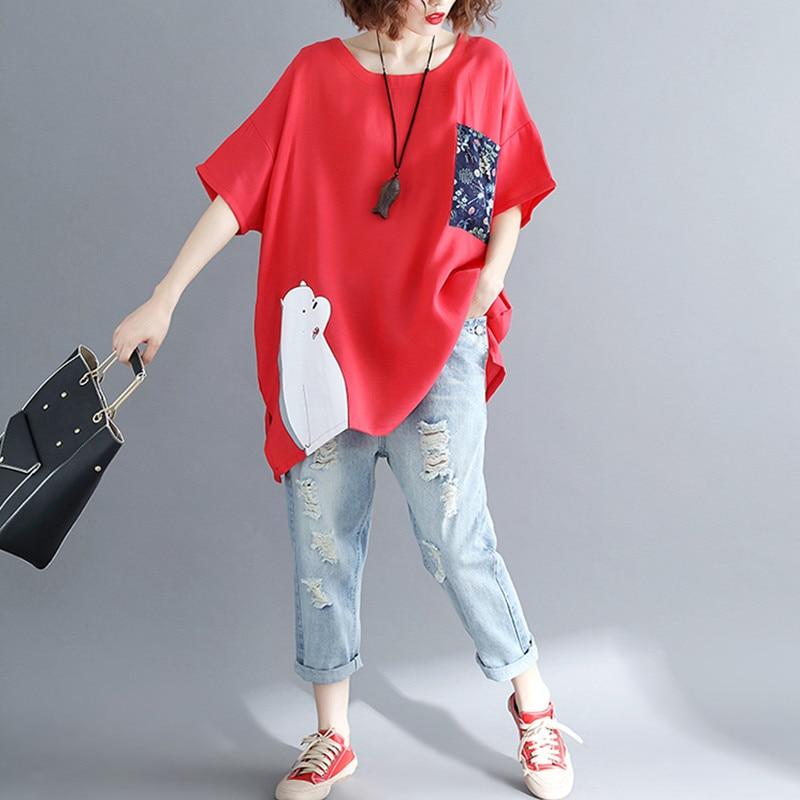 BIG SIZE 5XL 2019 Summer Women Fashion Elegant Cartoon Print Tops Lady Female Large Sleeve Oversize Loose Cotton Split T shirt 2