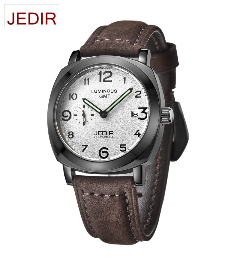 2016 JEDIR Mens watches top brand luxury Watch men Soft Leather Clock Waterproof Quartz Wrist Watches Montre Homme reloj hombre