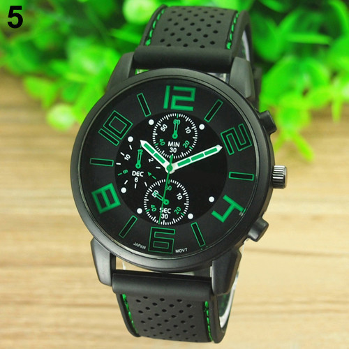 17 Men's Casual Sports Stainless Steel Silicone Band Quartz Analog Wrist Watch Fashion Style Water Proof 8