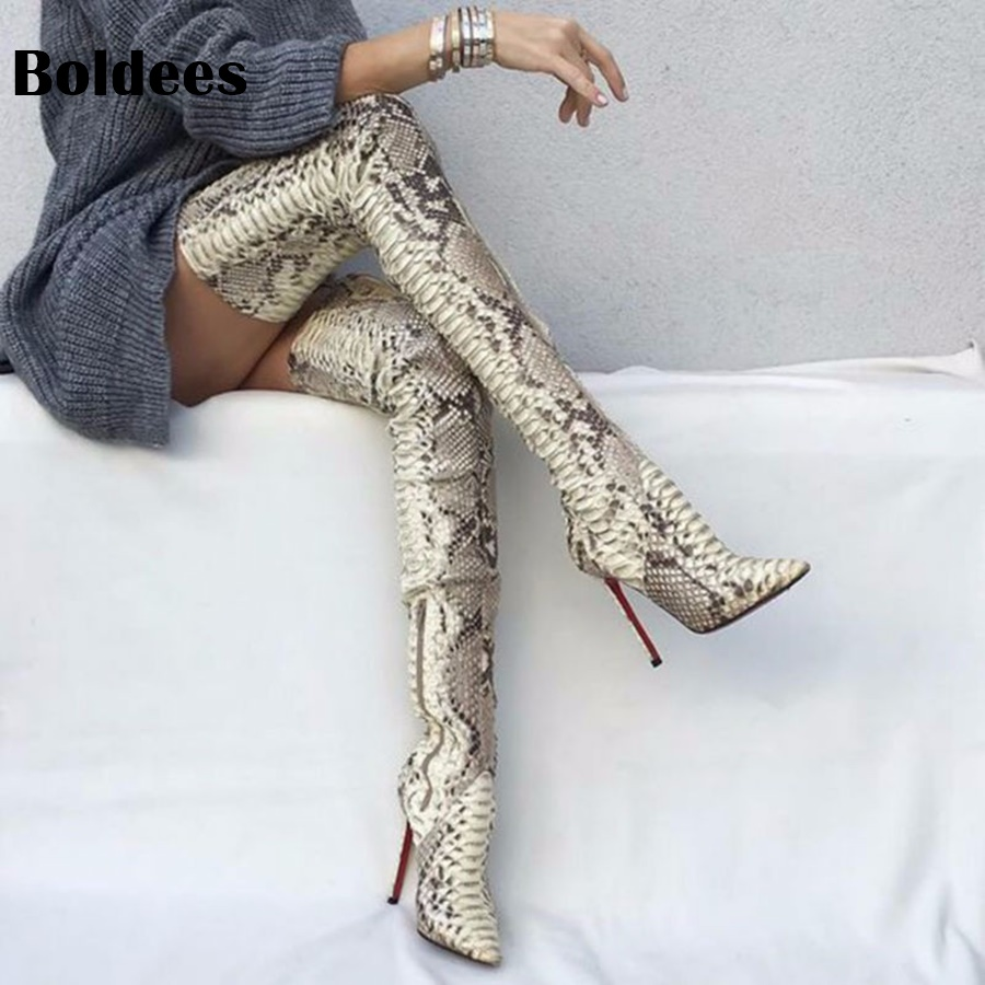Snakeskin Women Boots New Fashion Pointed Toe High Heel Over The Knee Boots Sexy Snake Pumps Lady Side Zipper Long Booty new fashion women shoes pointed toe patent leather lady high heel boots for women sexy over the knee boots nightclub pumps