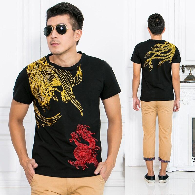 Новое Прибытие Китайский Стиль Дракон Феникс Вышивка мужская Шею Хлопка Рубашки Мужчины Черный Белый кунг-фу Плюс Размер рубашка