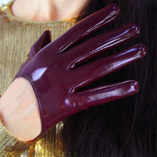 14Color Women Fashion Elegant Patent Leather Ultra Short Gloves Simulation Leather Bright Black  Precision Unlined 3-TB08 other 14color 80