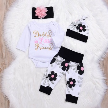 Long sleeve Newborn Clothes 4PCS Baby Girl Clothes Set Newborn Girls Sets Infant Baby Tops+Pants+hat+Headwear 2019 Fall baby set