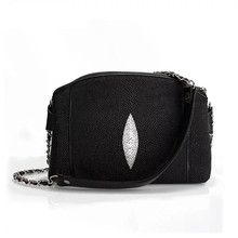 Classical Black White Authentic Stingray Skin Womens Shell Purse Genuine Leather Lady Shoulder Bag Female Small Messenger Bag