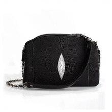 Klassieke Zwart Wit Authentieke Stingray Huid vrouwen Shell Purse Echt Leer Dame Schoudertas Vrouwelijke Kleine Messenger Bag
