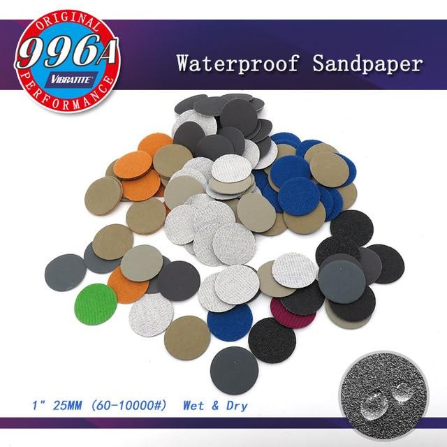 100 pces 1 Polegada 25mm à prova dsandágua lixa discos gancho & loop carboneto de silício molhado/seco 60 a 10000 grit