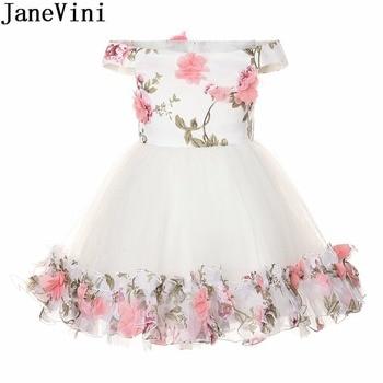 JaneVini White Knee Length Floral Flower Girl Dresses 2018 Kids Wedding Birthday Party Dress Bowknot Off Shoulder Girls Gowns