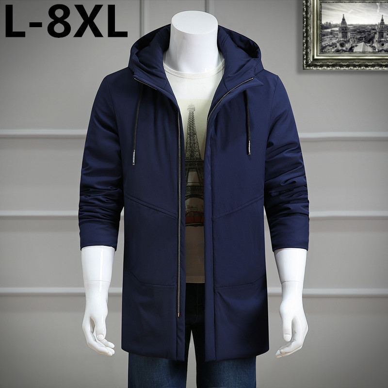 new Plus size 8XL 6XL 5XL 4XL 3XL Male Coat Hooded  Men's Warm Korean Style Padded Jacket Male Hooded Casual Winter&Autumn Coats