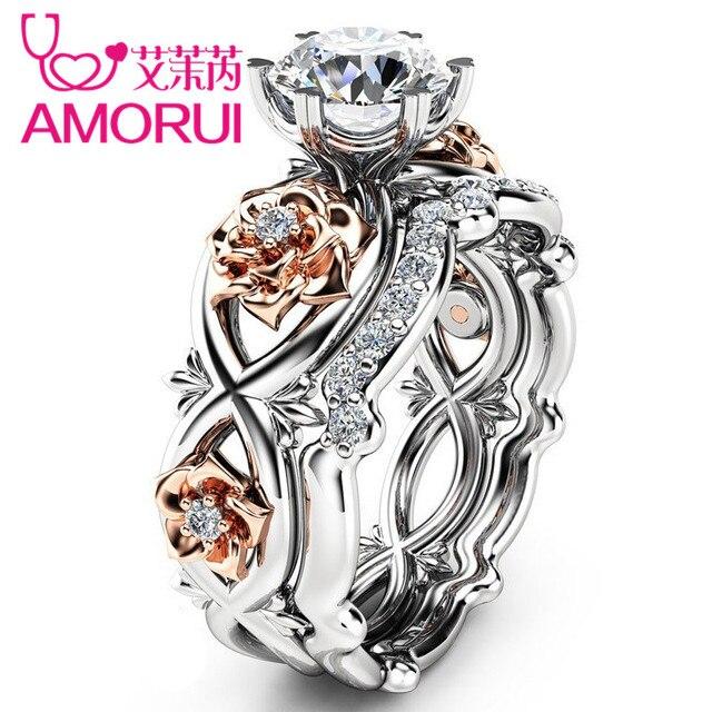 AMORU Rose Flower CZ Stone Wedding Rings for Women Jewelry Crystal Love Engageme