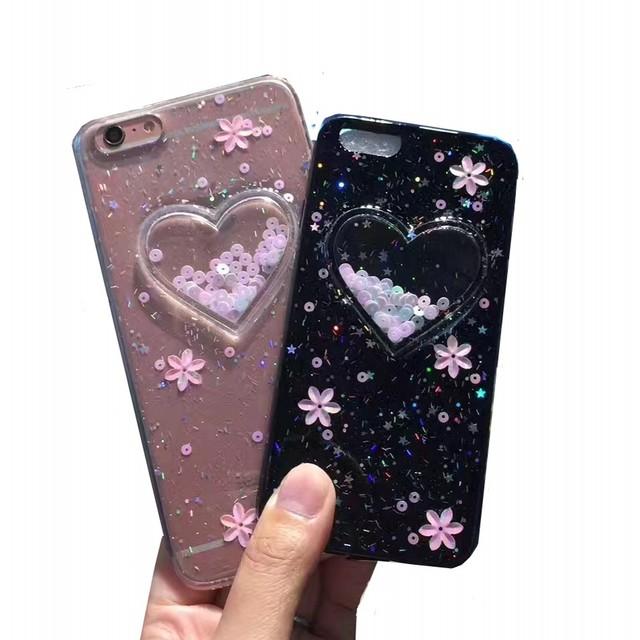 Luxury Love heart Glitter Flower case For Apple iphone 7 7plus 6 6s 6plus bling Soft TPU phone case cover