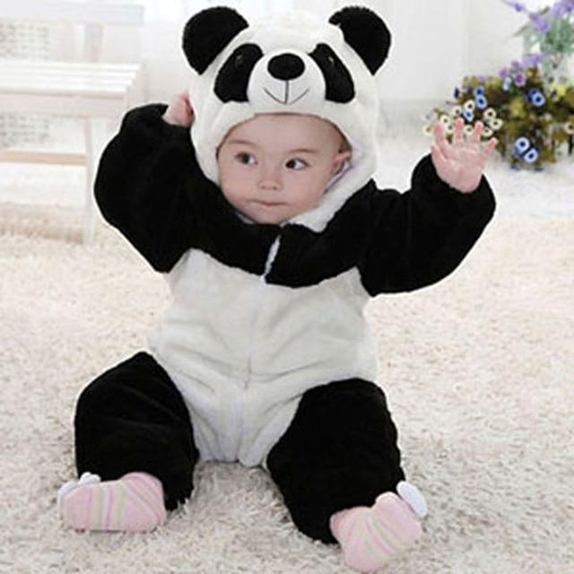 Новорожденный ползунки ребенка костюм животных панда с длинным рукавом фланель капюшоном ребенка комбинезон 2016 весной ребенка ползунки костюм одежда