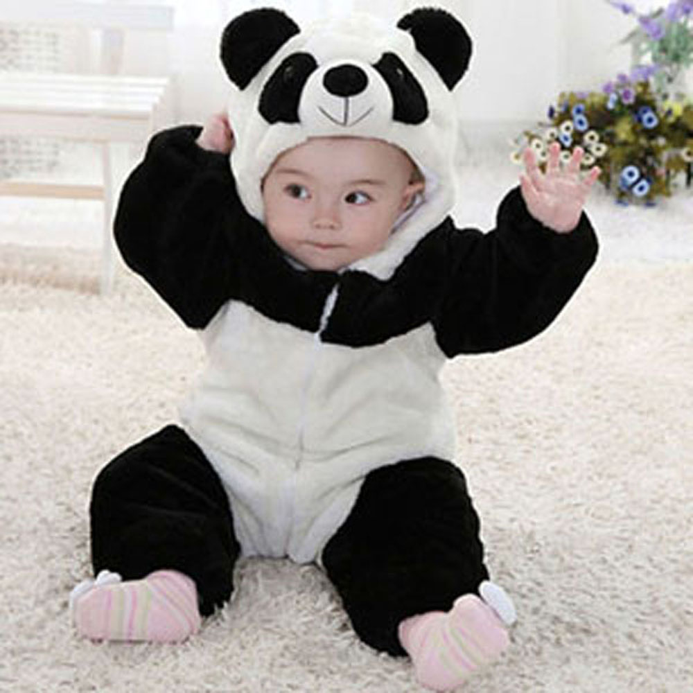 Newborn Infant Romper Baby Costume Animal Panda Long Sleeve Flannel Hooded Baby Jumpsuit 2016 Spring Baby Romper Suit Clothes unisex winter baby clothes long sleeve hooded baby romper one piece covered button infant baby jumpsuit newborn romper for baby