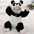 Newborn Infant Romper Baby Costume Animal Panda Long Sleeve Flannel Hooded Baby Jumpsuit 2016 Spring Baby Romper Suit Clothes