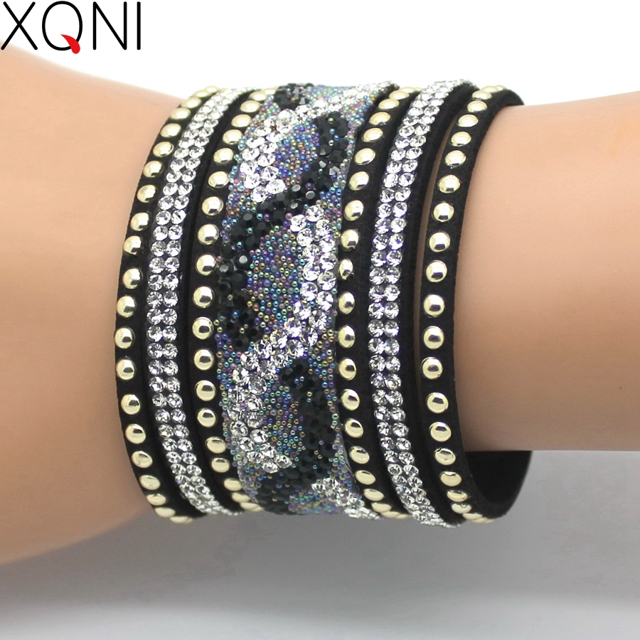 2017 XQNI Brand Top Crystal Leather Bracelets & Bangles Personality Printed Pave Setting Rhinestone Charm  Bracelet For Women