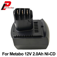 High Quality 12v 2000mAh Ni CD Replacement Power Tool Battery For METABO 6 02151 50 BZ12SP