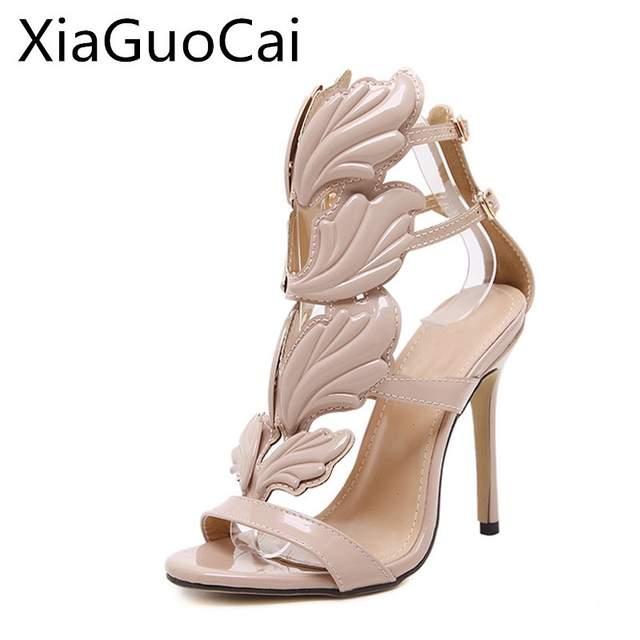 c67dad0b39766 Summer Women Sandals Ladies Gold High Heels Sandals Winged Leaves Design  Super Party Stiletto Gladiator Sandals for Female