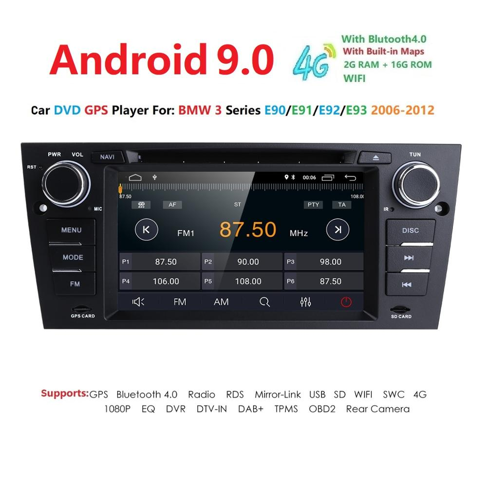 Hizpo 9 1 Din Car Multimedia Player GPS Android Para BMW/320/328/Série 3 E90/ e91/E92/E93 DVD Player Rádio FM Quad Core 2 + 16G USB