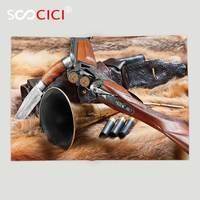 Custom Soft Fleece Throw Blanket Hunting Decor Hunting Materials on Fur Rifle Ammunition Cartridge Knife Sheath Brown Light