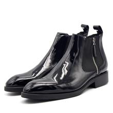 Top vendendo Elástico zíper couro do couro real handmade botas Chelsea dos homens de moda estilo Britânico apontou botas curtas para os homens