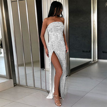 2019 New Summer Wommen Dress Sequin Party Dresses Sparkly Glitter Wrap Chest Make Slit Vent Sexy