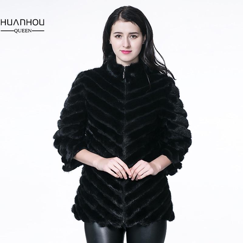 HUANHOU DELLA REGINA reale del visone cappotto di pelliccia per le donne 's, natura completa coat pelt pelliccia con pelliccia di alta qualità, ti fanno bello, hanno un inverno caldo.