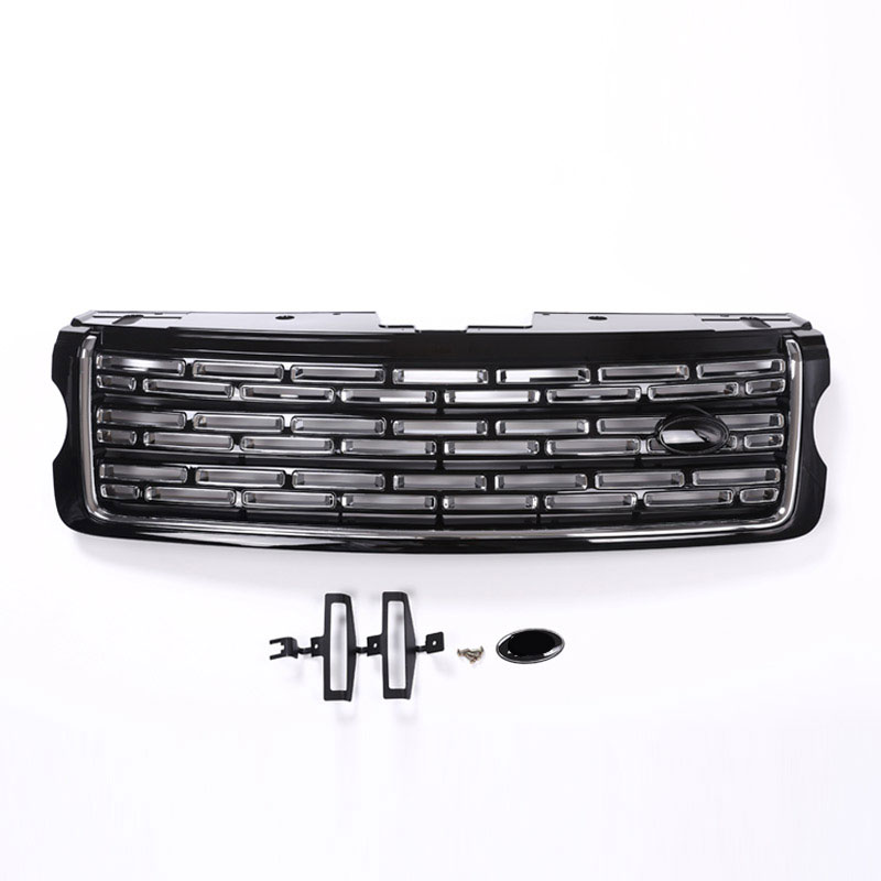 For Landrover Range Rover Vogue 2013-2017 Silver Black Main Body Kit Car Front Grille Trim Auto Replacement Exterior Parts silver front bumper hood center grille for land rover range rover vogue 2014 2015 2016