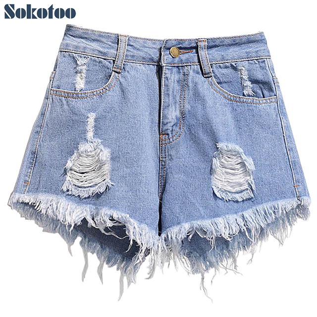 891dfdb7dd Sokotoo Women's plus size holes ripped fringe jeans High waist distressed  denim shorts