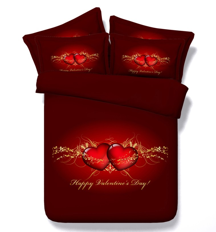 Lenzuola Matrimoniali San Valentino.Cuore Rosso Copripiumino Amore San Valentino Set Biancheria Da