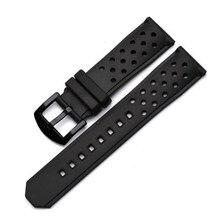 22 мм Перфорированный силиконовый резиновый ремешок для часов, ремешок для часов, водонепроницаемый ремешок из нержавеющей стали с металлической пряжкой