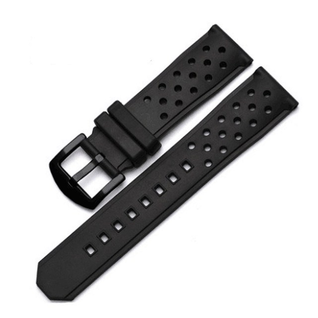 22mm Perforated Silicone Rubber Rally Watch Band Strap Waterproof Air Hole Watchband Stainless Steel Metal Buckle Bracelet