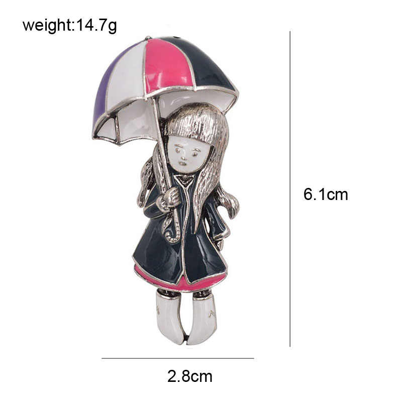 CINDY XIANG Girl Under Umbrella Brooches For Women Enamel Pins New Summer Jewelry Coat Dress Broches Bijouterie Badges Gift