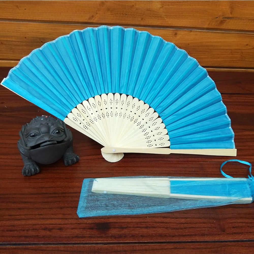 2018 NOVO Estilo Chinês Ventilador de Mão de Bambu Ventilador De Dobramento de Seda Festa de Casamento Festival Home Decor Dropshipping D23 July3
