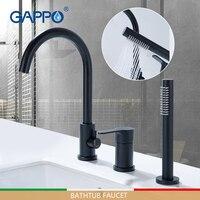 Grifos de bañera GAPPO grifo de ducha de baño negro Sistema de ducha de cascada grifo de bañera mezclador de baño