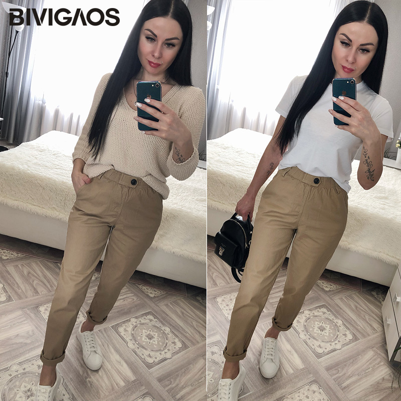 Image 4 - BIVIGAOS 2019 New Spring Women Clothing Straight Overalls Casual Harem Pants Korean Elastic Waist Triangle Buckle Cargo Pants-in Pants & Capris from Women's Clothing
