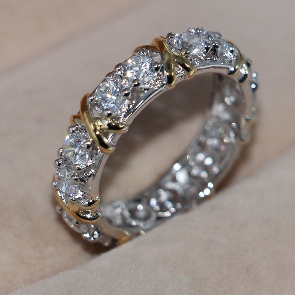 Lady//Women/'s 14KT White Gold Filled Tanzanite   Wedding Ring Gift size 6-10