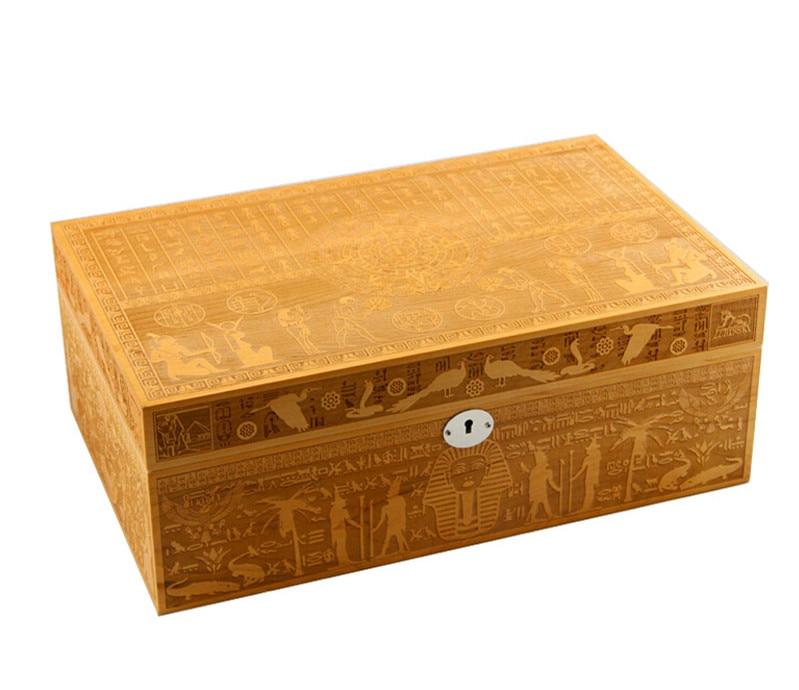 Luxury Spain Cedar Hand Engraving Wood Large Capacity Cigar Humidor Nice Storage Box Log Cigar Box