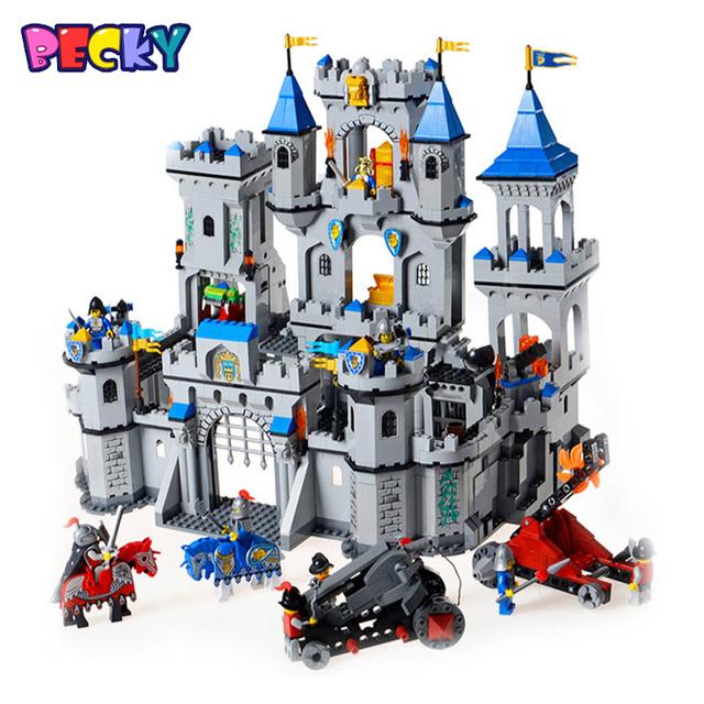 Qwz 1393 unids building block set león castillo medieval caballero carro modelo diy educativo montado ladrillos juguetes para niños