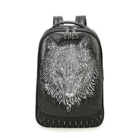 Cool personality double shoulder pack creative rivets wild wolf head Bag for man bag student security computer backpack
