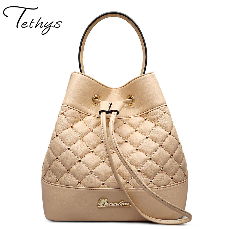Tethys 2017new women genuine sheepskin leather bags luxury ladies messenger bag famous bucket lambskin handbag totes sac a main new genuine leather women bag messenger bags casual shoulder bags famous brand fashion designer handbag bucket women totes 2017