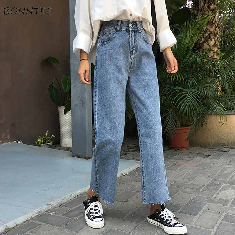 Jeans Women Students Elegant All-match High-quality Korean Style Leisure Daily Womens Female Lovely Simple 2019 Pockets Button