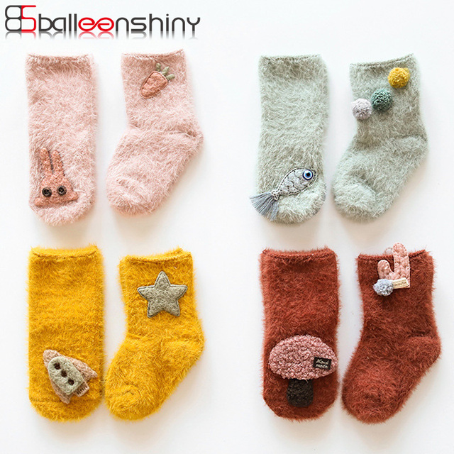 BalleenShiny 3D Cartoon Toddler Warm Socks Baby Boys Girls Thicken Terry Cute Mid Tube Socks For Gift New Arrival Autumn Winter